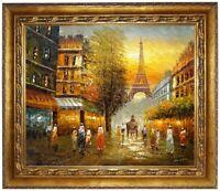 Ölbild Paris im Pferdewagen Eiffelturm historisch ÖLGEMÄLDE HANDGEMALT F:50x60cm