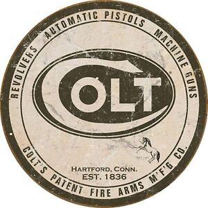 "Colt Revolver - Round Logo Tin Sign 11.75"" Diameter"