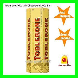 *SALE* Toblerone Swiss Milk Chocolate Honey Almond Nougat 6x 100g Bars