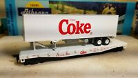 Athearn HO Coca-cola 50  flat car with 1/87 scale trailer load for train set