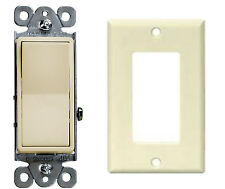 NEW Decorator 15A Switch 3 Way  Lighted Illuminated Rocker Light Switch W PLATE