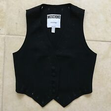 vintage MOSCHINO COUTURE! black wool crepe vest with Buttonholes details size 10