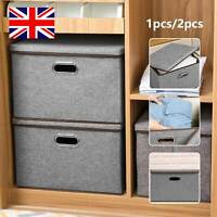 Foldable Storage Boxes with Lid Collapsible Home Clothes Organizer Fabric CubeUK