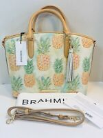 NWT Brahmin Duxbury Multi Pompano Pineapple Leather Handbag Satchel Shoulder Bag