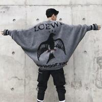 Men Embroidery Batwing sleeve Hoodies Loose Fit Pullover Eagle Sweaters 2Colors