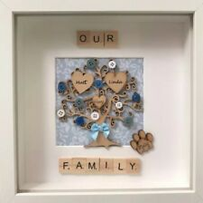 Handmade Personalised Family Tree With Scrabble Letters Box Frame + Gift Wrapped