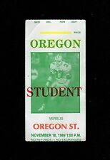>1989 FOOTBALL TICKET Stub: OREGON DUCKS vs OREGON STATE BEAVERS @ Autzen