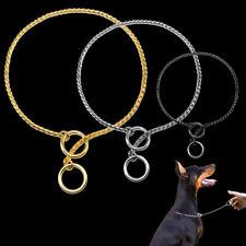 Dog Choke Chain Collar Chrome P-Choker Pet Show Training Slip Collar Silver Gold