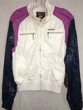 Women's Live Mechanics Zip Front Jacket. White/Navy/Purple..Size 2XL Juniors NWT