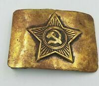 WW2 Russian Red Army Brass Soldier Belt Buckle with Star Original Plaque Soviet