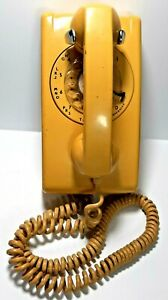 Vintage ITT rotary dial wall mount home telephone  Mustard Yellow  untested