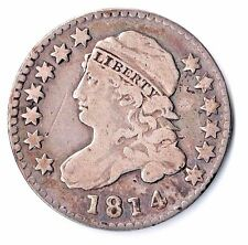 1814 LARGE DATE U.S. CAPPED BUST DIME VG+ 10C SCARCE YOU GRADE