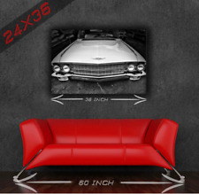 Vintage Classic Muscle Car - Vintage Black&White Cadillac 24x36 HD Poster Print