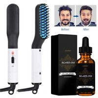 Men's Hair Straightener Electric Brush Beard Comb Curling with Free Beard Oil US