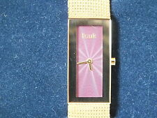 *** Ladies FRENCH CONNECTION FCUK Gold & Red Watch, Metal Strap, Boxed, New ***