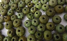 Vintage 1940 10mm Carved Decorative Green 6-holed Bakelite Beads 10 Pieces