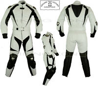 WOMENS WHITE RANGER LADIES CE ARMOUR MOTORBIKE /MOTORCYCLE LEATHER JACKET / SUIT