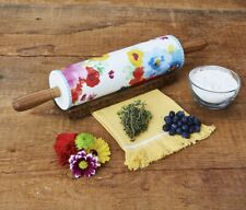 New Pioneer Woman Breezy Blossom Ceramic Rolling Pin w/Acacia Wood Handle & Base