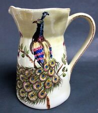 """XL Tabletops Gallery Peacock Pitcher Hand Made Painted 10"""" EUC"""