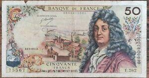 Billets 50 francs RACINE 6 - 3 - 1975 France E.262
