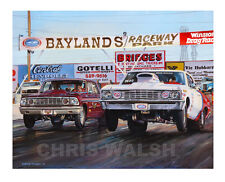 "Drag Racing action prints ""Baylands"" Raceway Park, classic - Ford vs Chevy"