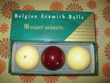 Ancien COFFRET 3 BOULES BILLES DE BILLARD CARAMBOLE SUPER ARAMITH BALLS BELGIUM