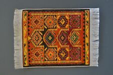 "Miniature Dollhouse Woven Victorian Carpet Rug w /Fringe 4 1/4"" x 3"" NEW"