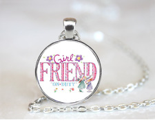 Girl Friend On Duty PENDANT NECKLACE Chain Glass Tibet Silver Jewellery