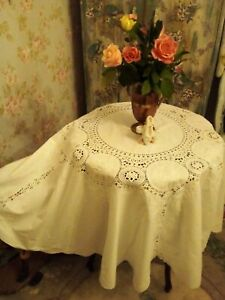 Beautiful White Cotton Tablecloth with Gorgeous Crochet & Stitched Flower...