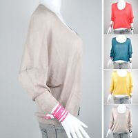 Hot Lady Batwing Casual Round Neck Knitted Pullover Jumper Loose Long Sweater