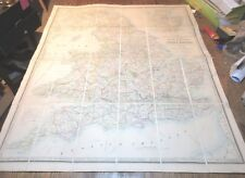 ANTIQUE JAMES WYLD'S A MAP ENGLAND WALES AND SCOTLAND CROSS ROADS C. 1853 LINEN