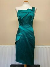 KAREN MILLEN Satin Emerald Green COCKTAIL PARTY DRESS - Sz 12 EUR 40 #146