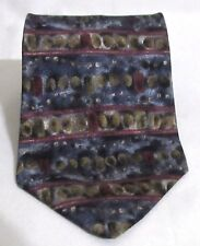 NEW Mens BUGATTI 100% Silk Shades of Blues Wine Brown Gold AbstractTie Orig $275