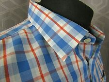 Penguin Long Sleeved Blue & Red Check Men's Cotton Shirt - XLarge
