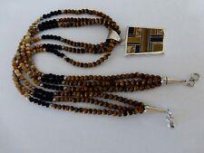 Auth.Native American Indian Navajo TigerEye/Jasper 3 Strand Necklace w/Pendant