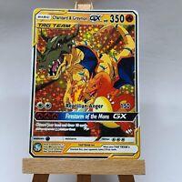 Greymon and Charizard Glurak GX Tag Team Pokemon Card in Holo