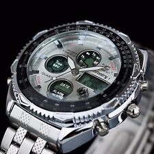 INFANTRY Mens LED Digital Quartz Watch Chronograph Sport Silver Stainless Steel