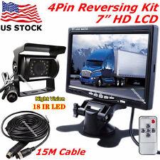 "12V-24V 4Pin IR Reversing Rear View Camera +7"" Color LCD Monitor for Bus Truck"