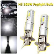 2Pcs 160W H3 LED Fog Light Bulbs High Power Car DRL White Bulbs 1600LM 6500K New