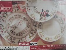 Gibson Housewares Christmas Charm 20 Pc Dinnerware Set service for 4 holly gold