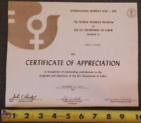 US Department of Labor Certificate of Appreciation International Women's Year