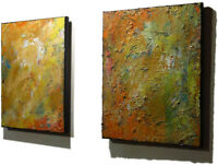 2 OIL█PAINTINGS█CONTEMPORARY█IMPRESSIONIST█ART█SIGNED ABSTRACT ORIGINAL OUTSIDER