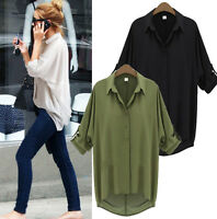 Women Ladies Casual Long Sleeve Chiffon Blouse T Shirt Summer Loose Tops Blouse
