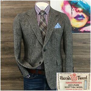 Vintage Harris Tweed Mens Sport Coat Blazer Wool Sport Jacket Size 40R 2 Button