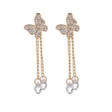 Dangle Ear Stud Earrings Jewelry K Women Charm Crystal Rhinestone Butterfly Long