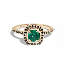 Real Emerald Gemstone Ring Black Diamond Solid 14k Yellow Gold Handmade Jewelry
