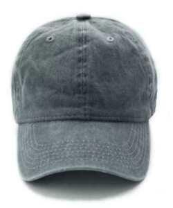Baseball Cap Vintage Style Denim Adjustable Faded  Snapback Hat Slate Grey New