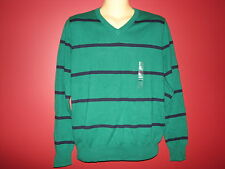 GAP Men's Green/Navy Striped V-Neck L/S Sweater - Size Small - NWT $49.99