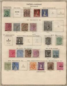 NATAL: 1874-1908 Examples - Ex-Old Time Collection - 2 Sides Page (39425)
