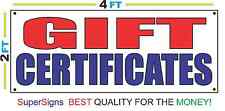 2x4 GIFT CERTIFICATES Banner Sign Red White & Blue NEW Discount Size & Price